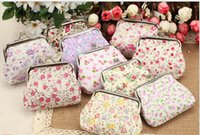 Wholesale Mini Wallet Size cm Birthday Christmas Gifts Cotton Pastoral Cloth Floral Print Buckle Lady Coin Purse Wallet Sundries Mess Kits Purses