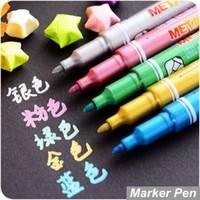 Wholesale 5 Metallic marker pen for CD ceramic glass plastic wood paper Paint marker Caneta escolar Office School supplies