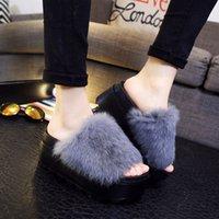 Wholesale Hot New Winter Platform Maomao Sponge Slippers High Real Rabbit Fur women Slippers