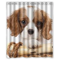 Wholesale Dogs Cavalier king Charles Spaniel Puppy Animals New Design Quality Waterproof Fabric Bath Shower Curtain x180cm