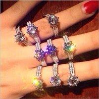 Moda plata de ley 925 anillos de dedo de la piedra preciosa de las mujeres Configuración del anillo de bodas clásico de seis puntas 3ct diamante simulado Circón Anillo de cóctel