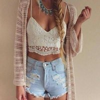 Wholesale Women s White Lace Bralette Top New Summer Beach Camisole Crop Tops Plunge V Lace Up Back Tanks Strappy Sun Top CJF0704