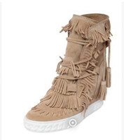 beige wedge booties - Wedge Suede Fringed Women Ankle Booties Lace Up Tassel Height Increasing Lady Short Boots Spring Autumn Heels Casual Shoes
