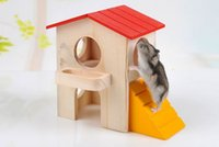 Wholesale YIYAN Hamster Bunk House Small House Pets Hamster Toys Wooden Two Layer Villa Bed House Red Roof
