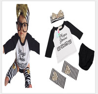 Wholesale 4 Set New Autumn Baby Girls Letters Printed Long Sleeve T shirt Tops Shorts Striped Leg Warmers Headband Kids Suits Girl Outfits