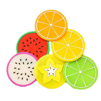 Wholesale Cute Silicone Summer Fruit Cup Pads Pot Holder Trivet Mat Non Slip Flexible Durable Heat Resistant Pads Tableware Insulation Pad Potholders