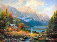 beginning oil painting - Beautiful Painting Landscape The Beginning of a Perfect Day by Thomas Kinkade artwork Home decor Hand painted High quality