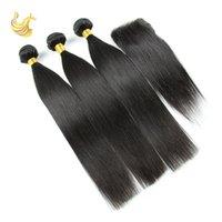 Wholesale Best Human Hair Extension Piece for Weddings Brazilian Straight Unprocessed Virgin Human Hair Bundles with Closure ST