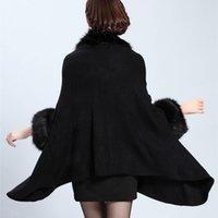 Wholesale Europe Style Fashion Winter Women Faux Fur Coat Poncho Cape Outerwear Feminino Casaquinho Cardigan Shawl Cloak Colours
