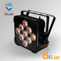 Wholesale 8X Hex V9 in1 RGBAW UV Battery Operated Wireless LED Flat Par Can LED Par Light For Stage Lighting