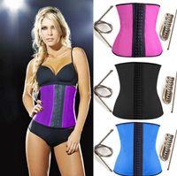 Wholesale 9 steel bone Latex Rubber body shaper Waist Trainer training corsets Corset Latex Corset Sexy Women Latex Waist Cincher Slimming Shaper