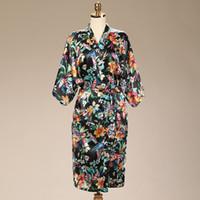 Wholesale Short Silk Robes Women - Wedding 2016 Summer Style Bathrobe Silk Robes Silk Robes For Women Womens Pijamas Print Flower Purple Short Kimono Robe Silk Dressing Gowns