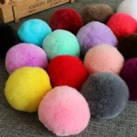 balls natural hair - Rex rabbit hair pompom CM for Beanies hats cap keychain bags natural fur balls real natural fur pom poms on sale