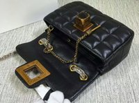 Wholesale Classic Style Black Genuine Leather Plaid Flaps Shoulder Chain Bags Vintage Gold Hardware Evening Bags
