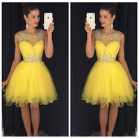 Wholesale Yellow Tulle Short Mini Homecoming Dresses Beaded Crystal Rhinestone Formal Prom Party Gowns For Girls Amazing Dress