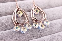 allergy drop - Boho Bohemian Hollow Teardrop Austria Crystal Drop Earring Pendent K Gold Plating Allergy Free Long Earring