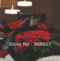 Wholesale 500 thread count black red rose flower printed girls bedding D oil painting bed linen cotton full queen duvet covers sets