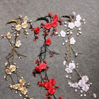 Wholesale 14 Brand New Plum Blossom Embroidery Applique Patch Iron on Applique Flower Applique Patch CA12265