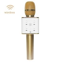 Wholesale New Arrival DHL Free High Quality Wireless Bluetooth Q7 Microphone Self Karaoke Support Mobile Phone Laptop Home KTV