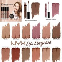 Wholesale 2016 NYX lip lingerie liquid Matte Lip Cream Lipstick colors NYX Charming Long lasting Brand Makeup Lipsticks Lip Gloss colors Free DHL