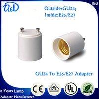 achat en gros de convertisseurs gu24-UL Passé GU24 à E26 GU24 à E27 Convertisseur de support de lampe Base Adaptateur de prise d'ampoule Matériau ignifuge Convertisseur d'adaptateur de lumière LED