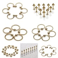 Wholesale 100Pcs Styles Gold Stainless Steel Ear Tragus Labret Tongue Bar Belly Lip Barbell Ring Eyebrow Piercing Body Jewelry