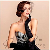 Wholesale Hot Pair New Fashion Women Satin Long Gloves Opera Evening Party Costume GLOVES Holder