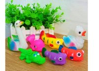 baby ocean sounds - New cute Color ocean Rubber Baby Bath Toys Water Sounds Animal Dolls Kids Swiming Water Fun Beach Gifts Sand Play