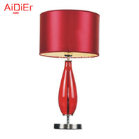 art deco chrome table lamp - Red crystal glass bedside table lamp festive gift wedding room bedroom creative outlet led llights DF