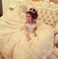 Wholesale Girls Birthday Party Dresses Princess Ball Gown Lace Illusion Long Sleeve Flower Girl Dresses Pageant Dresses For Kids WF020