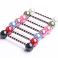 Wholesale Labret Ring G surgical Stainless Steel Pearl Labret Bar internally body piercing jewelry lip ring