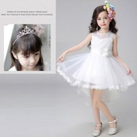 Wholesale Flower Girl Dresses Kids Ball Gowns High and Low Wedding Dresses Princess Jewel Neck Vest Skirt With Crown Hairpin