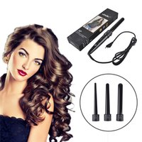 Wholesale 3 in Curling Wand Interchangeable Curling Iron Tourmaline Ceramic Package Hair Curler Set Hair Styling Tools US EU Plug