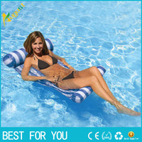 air mattress accessories - Stripe Water Hammock Lounger Pool Float Inflatable Air Mattress Swimming Pool Equipment Swimming Accessories