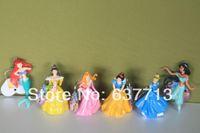 belle keychain - 20sets New shiny princess keychain pvc Ariel Cinderella Snow white Belle Aurora Cartoon Figure Toy Set of