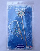Wholesale 500set newest girl Cinderella crown Set Crown and Butterfly Magic wand and necklace cosplay Party Cinderella set crown DHL Free