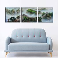 Wholesale 3 Set Classic Chinese Landscape Painting The Great Wall Modern Oil Painting Wall Pictures for Living Room