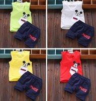 austrian vest - 2016 new infant clothing children s two piece Austrian Lauderdale cotton casual vest shorts Beach Boys clothes E184