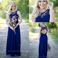 Wholesale 2016 Blue Lace Chiffon Long Country Bridesmaid Dresses Sexy Hollow Back Floor Length Party Prom Dresses Maid Of Honor Dresses Formal