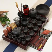 Wholesale 02 A complete set of tea set on sale Purple sand tea kungfu tea set Solid wood tea tray