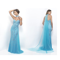 beaded scarves - 2017 Sky Blue Evening Dresses Mermaid Applique Crystal Sweetheart Zipper Prom Dresses Sweep Train Formal Party Dresses with Scarves