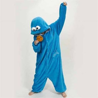Wholesale New Adult Women Men Blue Cookie Monster Pajamas Sleepwear Pyjamas Unisex Onesie Anime Animal Cosplay Costume