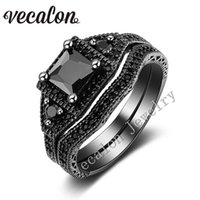 amethyst wedding bands - Vecalon Tremdy New Wedding Band Ring Set for Women Amethyst Black Cz diamond KT Black Gold Filled Female Engagement ring