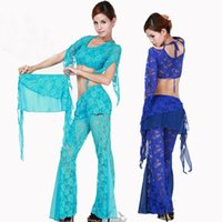 Cheap Lace Belly Dance Costume Bollywood Costume Indian Dress Bellydance Dress Womens Belly Dancing Costume Sets Tribal Skirt 5 Color
