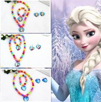 beaded heart pendant pattern - 2016 new cartoon frozen princess Anna Elsa heart sharp beaded necklace Bracelets set pendants charms pattern kids for party birthday