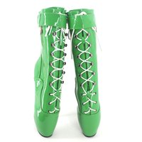 ballet shoes stiletto - Wonderheel Extreme high heel quot heel ballet boots green patent sexy fetish women sexy shoes lace up stiletto heel buckles boots