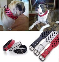Wholesale New Leather Rivet Collar Four Colors Solid Nail Sharp Spiked Studded Leather Dog Collars Sizes