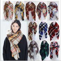 al por mayor pashmina scarf-Bufanda de tela escocesa de mujer acolchada Bufanda de borla de tartán de gran tamaño de moda Bufanda de reborde de moda Cheque Pashmina Cachemira malla cuello de cuello mantas B15 10