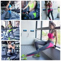 Wholesale 300PCS LJJM118 Women Nylon Leggings Color Yoga Sport Running Pants Fitness Gym Elastic Leggings Splice Pure Color Trousers