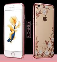 Секретный цветок сад Bling кристалла алмаза горный хрусталь гальванических гальванических ТПУ Леди Ультра-тонкий чехол для iPhone 6 6S Plus SE 5S